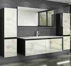 badmöbel set schwarz weiss marmor optik hochglanz