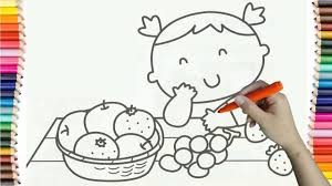 Learning How To Draw Baby Girl And Fruit Basket Colorful For Kids