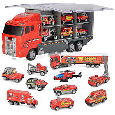 100 Fire Trucks Toys JOYIN 10 In 1 Diecast Engine Vehicle Mini Rescue Emergency Truck Toy Set In Carrier Truck