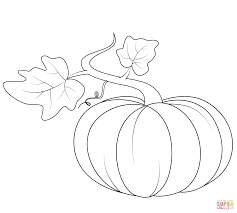 Click The Pumpkin With Leaves Coloring Pages
