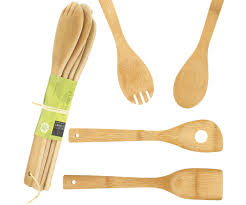 materiel de cuisine pas cher lot 4 ustensiles de cuisine en bambou couvert à salade cuillere
