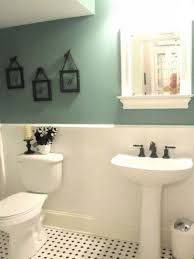 Bathroom Guest Wall Decor Square White Ceramic Sink Grey Stained Plank Wood Decorating