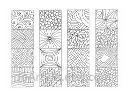 Color Your Own Bookmarks Zendoodle Printable Coloring ZentangleR Inspired Sheet 17 Four Unique Hand Drawn To Print And In