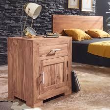 finebuy nachttisch massivholz nachtkommode h 60 cm x b 50 cm mit schublade und tür nachtschrank für boxspringbett