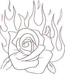 Rose Flame Flowers Coloring Pages