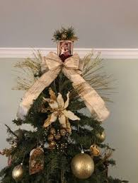 Catholic Tree Topper Using Cylinder With Holy Card And Pearl Pins