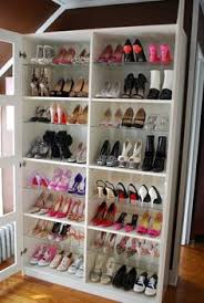 chic organization idea shoes on shelves