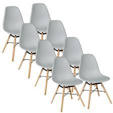 hellgrau 8er set skandinavisches retro design modern stühle esszimmerstühle möbel holz stahl kunststoff schale rund für wohnzimmer esszimmer küche