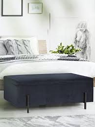 lifa living blaue sitzbank mit stauraum vintage polsterbank