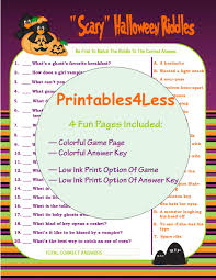 Scary Halloween Scavenger Hunt Riddles halloween riddle game halloween party game printable