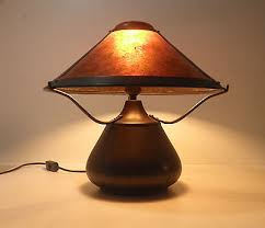 Mica Lamp Company Sconce by Mica Lamp Co The Beanpot 007 Copper And Mica Table Lamp One