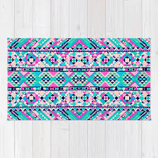 Girly Aztec Neon Pink Teal Andes Tribal Pattern Rug by girlyroad
