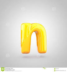 Glossy Yellow Paint Letter N Lowercase Stock Illustration