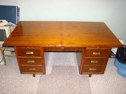 antique solid oak teachers desk with brass handles east kildonan