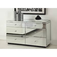rio crystal mirrored dressing table 6 drawer dresser chest