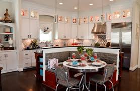 Kitchen Booth Plans Fabric Upholstered Bench Round Table Chrome Pendant Lamp
