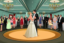 A Vector Illustration Of Bride And Groom Dancing Their First Dance At The Wedding Party