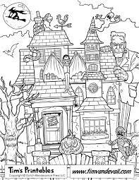 Haunted House Coloring Page Printable Sheets