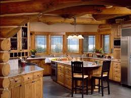log cabin kitchens with black appliances smith design log