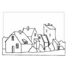 Set Of Houses Coloring Page