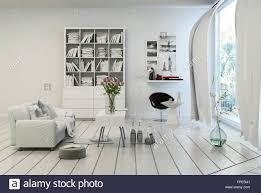 kompakte moderne weiße wohnzimmer interieur mit weiß