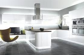 White Kitchen Dark Floors Modern Floor Grey Tiles