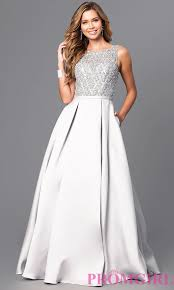 jeweled bodice long prom dress with pockets promgirl
