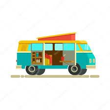 Small Camper Van With With Accessories — Stock Vector © Doloves ...