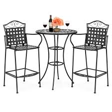 Best Choice Products 3-Piece Woven Pattern Wrought Iron Patio Bar Height  Bistro Table Set W/ 2 Chairs - Black 42 Black Metal Outdoor Fniture Ding Phi Villa 300lbs Wrought Iron Patio Bistro Chairs With Armrest For Genbackyard 2 Pack Wrought Iron Garden Fniture Mainstays 3piece Set Gorgeous Patio Design Using Black Chair And Round Table With Curving Legs Also Fabric Arlington House Chair Commercial Sams Club 2498 Slat At Home Lck Table2 Chairs Outdoor Gray Mesh Back