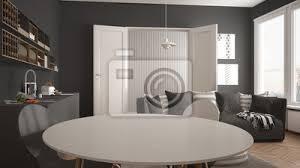 fototapete skandinavisches modernes wohnzimmer mit küche speisetisch sofa