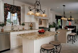 Kitchen Unusual Design Ideas Of Traditional With Rectangle Shape White Island And Combine Brown Color Marble Countertop Also