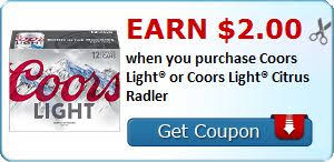 Earn $2 00 when you purchase Coors Light or Coors Light Citrus Radler Cupones Pinterest