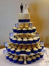 Royal Blue Wedding Cake And Cupcakes