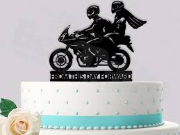 Motorcycle Couple From This Day Forward Wedding Cake Topper