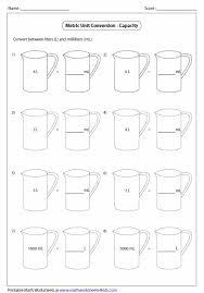 100 milliliters to liters metric unit conversion worksheets