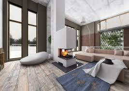 raumteiler 3seitig mit holzregal modern wohnzimmer