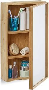 relaxdays bad spiegelschrank aus bambus eintüriger badezimmerschrank mit spiegel zusammengebauter wandschrank natur