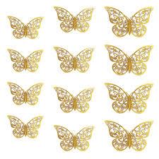 3d schmetterlinge 12er set glänzend wandtattoo wanddeko gold