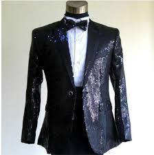 Online Shop Custom Made Men Slim Fit Suit Sequins Groom Tuxedos White Black Gold Red Groomsmen Wedding Suits Dress Jacket Pants BowTie