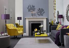 grey and purple living room interior design