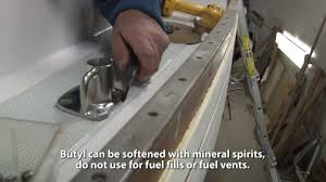 bedding deck hardware using through bolts butyl tape youtube