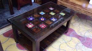 ceramic tiles top wooden center table coffee table with