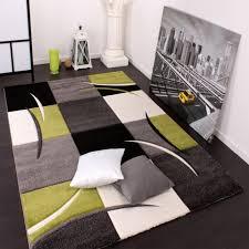 moderner teppich wohnzimmer karo grün schwarz