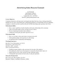 Resume Objective For Warehouse Advertising Sales Example Objectives Positions By