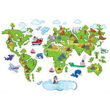 Nursery Decorations Children World Travel Map Wallpaper Cartoon Tree Animals 3d Vinyl Wall Stickers For Kids