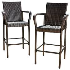 Stewart Outdoor Brown Wicker Bar Stool Set of 2 Contemporary