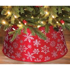 Holiday Time Christmas Decor 22 Red Snowflake Velvet Stand Band Tree Cover