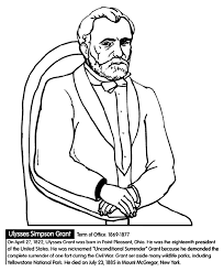 US President Ulysses S Grant Coloring Page