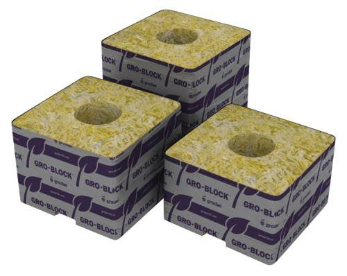 "Grodan Rockwool Delta 8 Block - with Hole Strip, 4"" x 4"" x 3"""