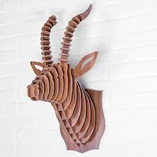 fuskang antelope skulpturen wand dekoration 3d diy montiert